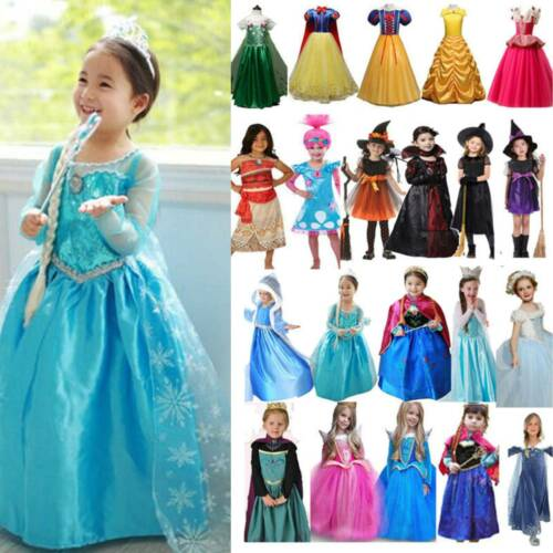 Eiskönigin Elsa Anna Kostüm Mädchen  Prinzessin Kleid Karneval Cosplay Kostüm