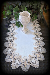 """Dresser Scarf Lace Table Runner 27""""x14""""  Doily Neutral Beige Tan Antique White"""