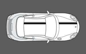 sin OE Porsche 911 996 Doble Techo Capó /& Conjunto de gráficos de doble raya Calcomanía