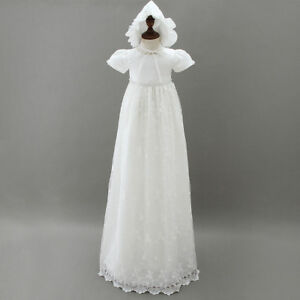 b583d7c6f Image is loading Vintage-White-Baby-Girls-Christening-Gown-Infant-Lace-