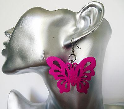 Large Butterfly Dangle Drop Earrings lightweight wooden Lots Of COLOURS