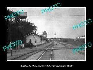 OLD-LARGE-HISTORIC-PHOTO-OF-CHILLICOTHE-MISSOURI-RAILROAD-DEPOT-STATION-c1940