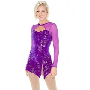 Mondor-Mesh-Sleeve-Velvet-Skating-Dress-Frosted-Purple-5G-Adult-Size-M-NWT