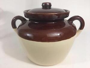 McCoy-Pottery-342-Bean-Pot-Brown-Cream-Stoneware-Ovenproof-Vtg-Double-Handle-Exc