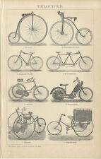 Velociped Fahrräder Dreirad Tandem Niederrad Hochrad Manuped Brockhaus 0304