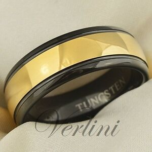 Image Is Loading Hermes Tungsten Ring Black Gold Men 039 S
