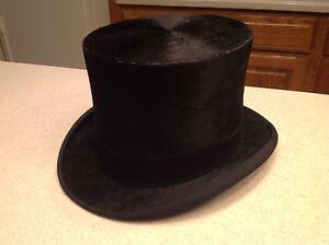 Vintage Antique Men s Stove Pipe Top Hat Beaver or Silk Dobbs Fifth ... ec88e6d2b2c