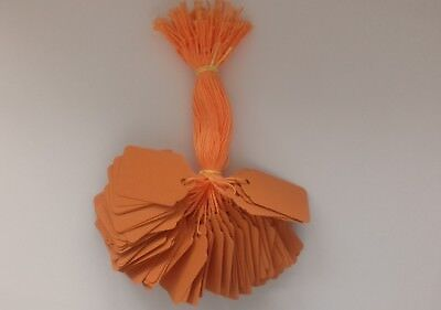 100 ORANGE STRUNG PRICE TAGS 48MM X 30MM SWING TICKETS GIFT LABELS BLACK STRING