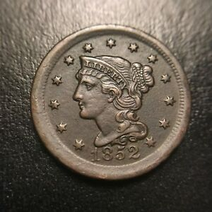 1852 Braided Hair Large Cent AU+/UNC About Uncirculated Coronet Late Date EAC