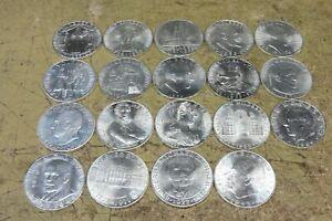 Austria, 1955/1973, 19 x 25 scellini argento, serie completa