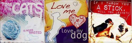 Decorative Glass TILE Plaque 4 X 4 Hang or Stand-Cute Dog or Cat Design-U Choose