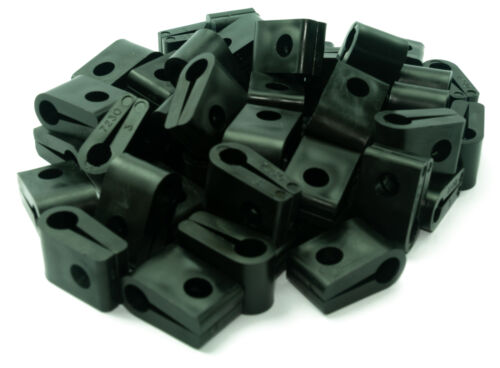 BLACK Pack of 50 Electrical Cable// Lead// Wire Cleat//Clip Size 3-7.6mm