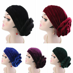 Muslim-Indian-Cancer-Chemo-Hat-Hair-Loss-Head-Scarf-Velvet-Women-Turban-Cap