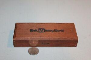 RARE VTG Walt Disney World 3 Cuban Cigars Wood Box Only Rare HTF Park Souvenir