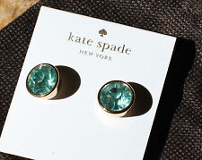 Kate Spade NY CRYSTAL ICED BLUE GOLD bezel faceted SIMPLE Stud Crystal Earrings