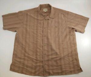 Cabelas Mens Brown Short Sleeve Button Up Shirt XL