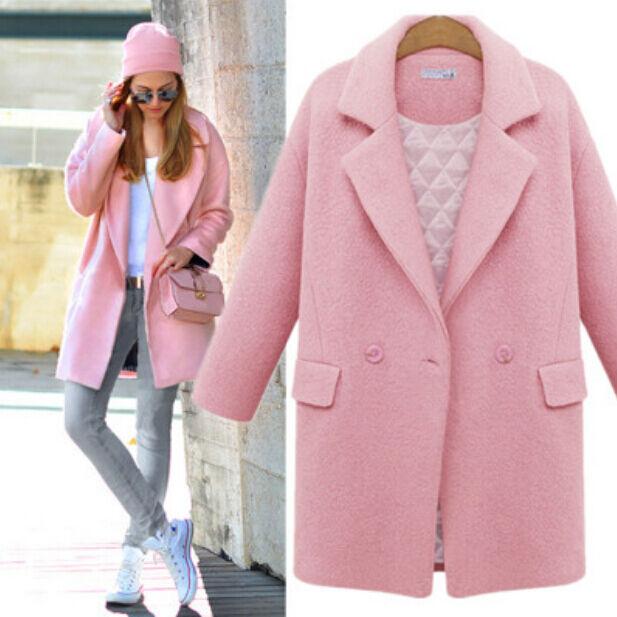 New Women Wool collar Cashmere Long Winter Parka Coat Jacket Outwear Overcoat