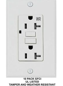 20A GFCI GFI Receptacle Outlet w// LED /& Wallplate UL Listed Black 20 Amp TR//WR