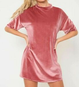 I-Saw-It-First-Women-039-s-Rose-Pink-Velvet-T-Shirt-Dress-Size-10-New-With-Tags