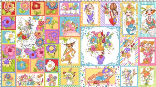 "Loralie Harris Fabric Blossom Ladies Flower Lady Sunbonnet Vase Scenes 24/"" Panel"
