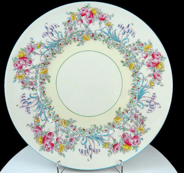 SET s 4 DINNER PLATES ROYAL WORCESTER BONE CHINA JUNE Z502 PINK AQUA BLUE FLORAL