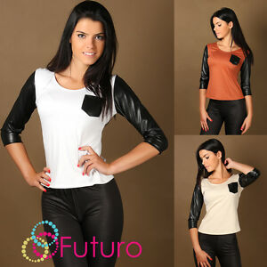UK Elegant Women/'s Jumper with Eco Leather Top Knitwear Jersey Size 8-12 FA238