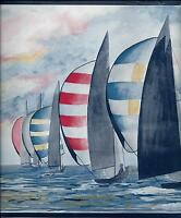 Summertime- Nautical Sailboats On The Water Wallpaper Border