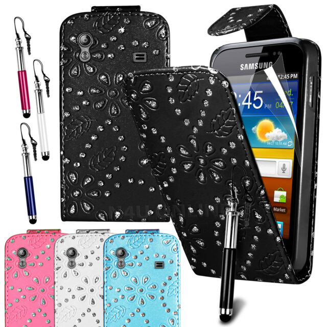 Diamond PU Leather Flip Case Cover, Film & Pen for Samsung Galaxy Ace S5830