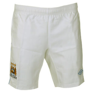Mens-Manchester-City-White-Blue-FC-Home-Football-Soccer-Shorts-Size