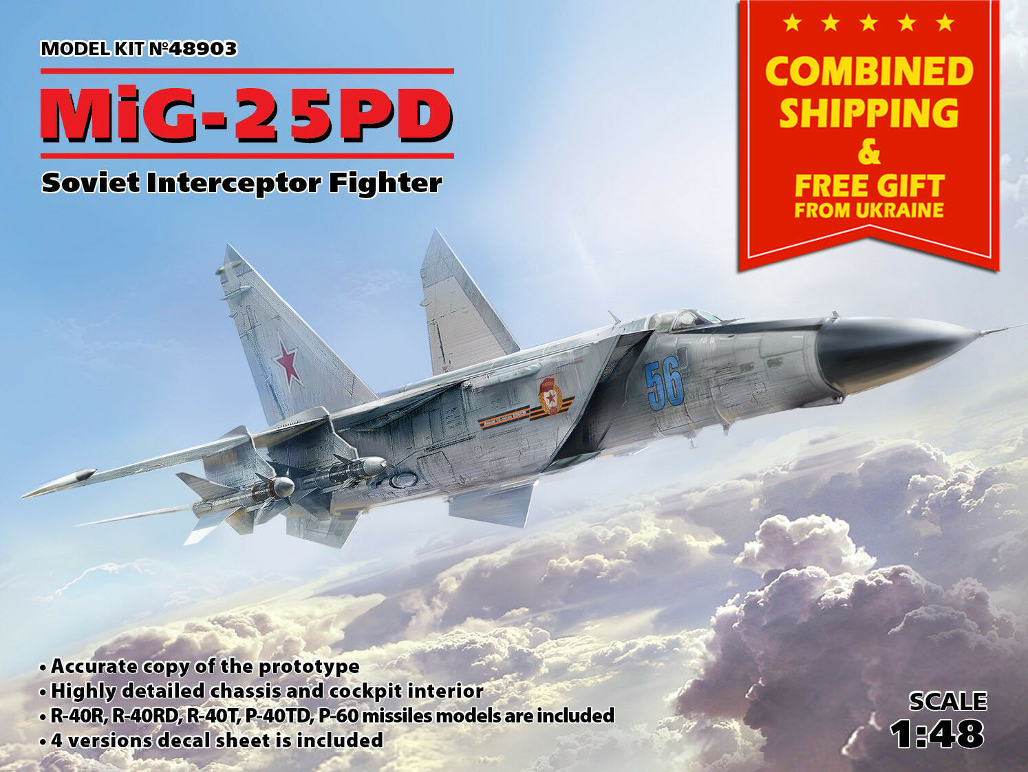 SOVIET INTERCEPTOR FIGHTER MIG-25 PD AIRCRAFT MODEL KIT NEW 1 48 SCALE ICM 48903
