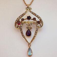 Art Nouveau 9ct Gold Garnet, Amethyst, Aquamarine & Pearl Pendant Necklace c1905
