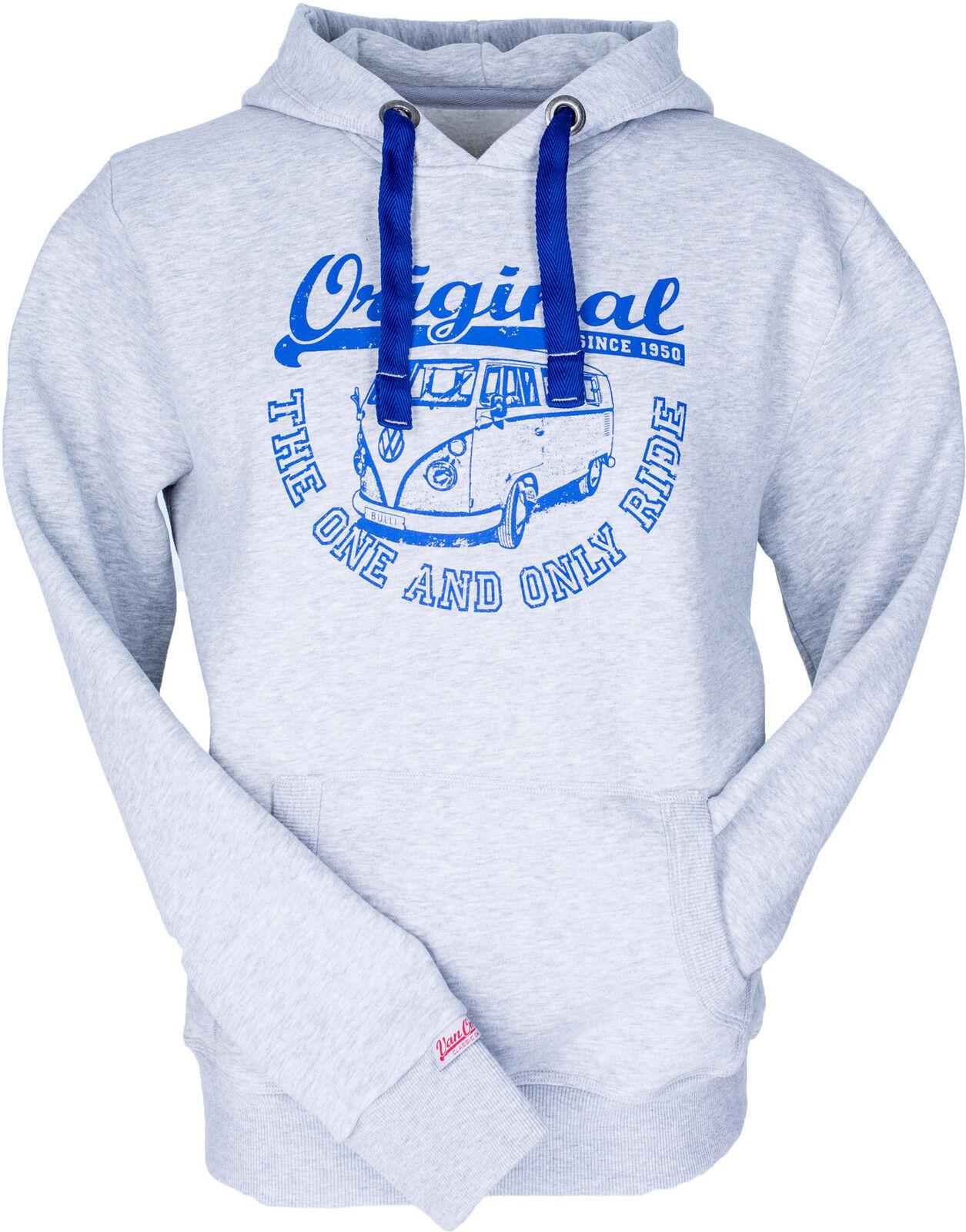 Sweatshirt VW Bulli Herren Hoodie  Original Ride  Hell-Grau Blau Kapuzenshirt