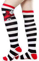 Roller Skate Over The Knee Socks - Sourpuss Thigh High Striped Red Roller Derby