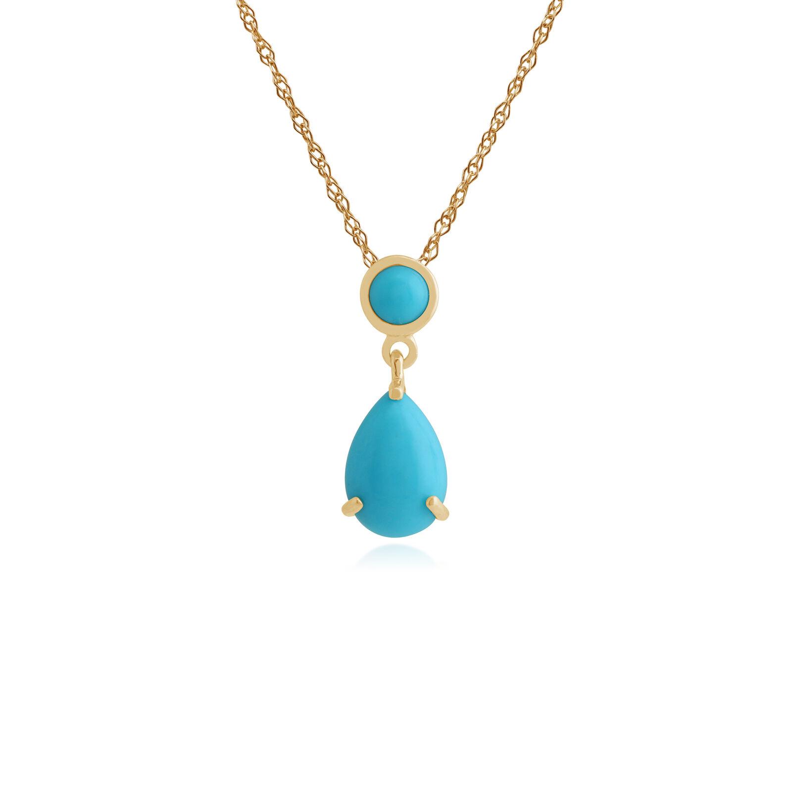 Gemondo 9ct Yellow gold 1.22ct Turquoise Pendant on 45cm Chain