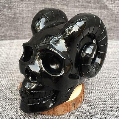 "2/"" Carved quartz crystal skull Natural obsidian Wizard hat Reiki healing 1pc"