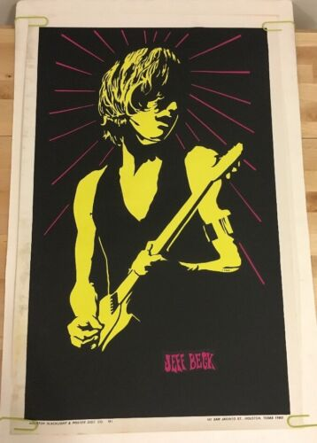 Vintage Blacklight Poster Jeff Beck Music Memorabilia Pin-Up 1960's Psychedelic