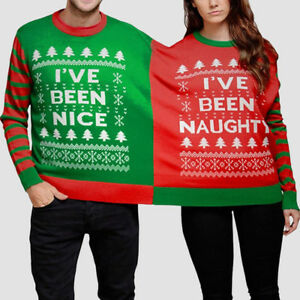 Mens Christmas Sweaters.Unisex Double Christmas Sweater Jumper For Couples Women