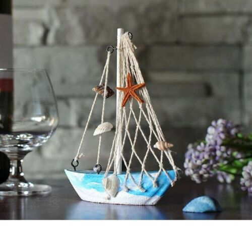 Handcrafted Nautical Wooden Wood Fishing Net Sailing Model Home Decoration 01