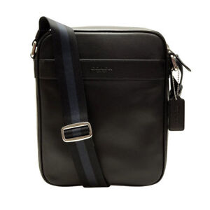 532543ce375b Coach Men s F54782 Leather Shoulder Crossbody Flight Bag Black for ...
