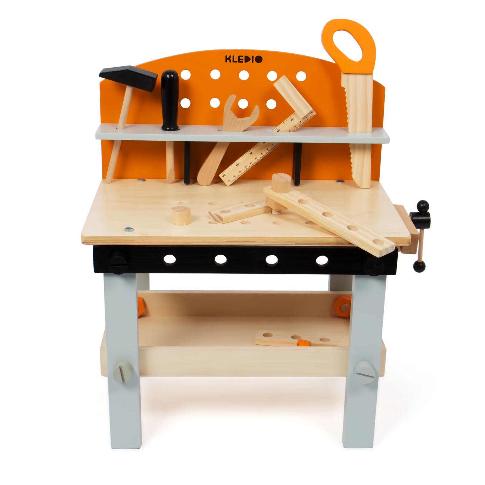 Kledio Werkbank Kinder aus Holz FSC® 100%, 14-teilig, Holzwerkzeug
