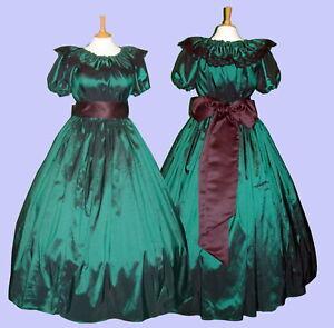 Humble Victorienne Pour Femmes Ou Guerre Civile Américaine 3pc Costume Robe Fantaisie Vert Taille 6-20-afficher Le Titre D'origine RéTréCissable
