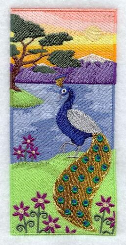 PEACOCK SUNSET SET OF 2 HAND TOWELS EMBROIDERED
