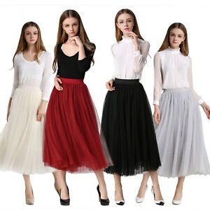 21405e38abd58 Multi layer Tulle maxi long skirt gray Black Spring fashion Princess ...
