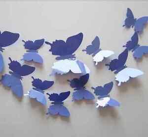 12-Papillons-3D-VIOLET-autocollants-PVC-Deco-Mur-SDB-Porte-Chambre
