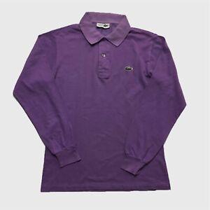 Mens-Vintage-Lacoste-Long-Sleeve-Polo-Small-Medium-Purple