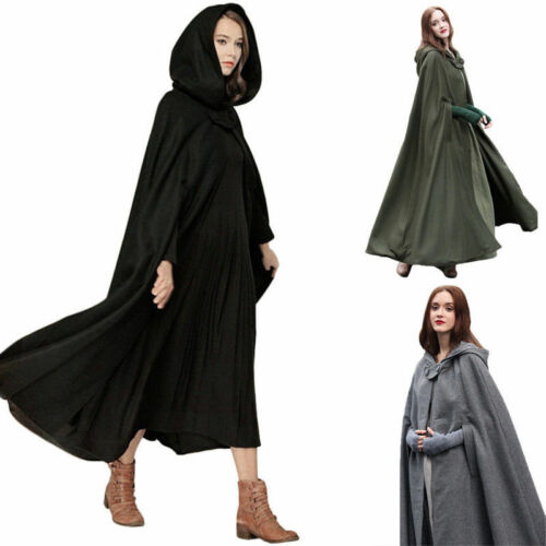 Long Cape Cloak Poncho Winter Womens Casual loose Hooded Wool Blend Coat Tops