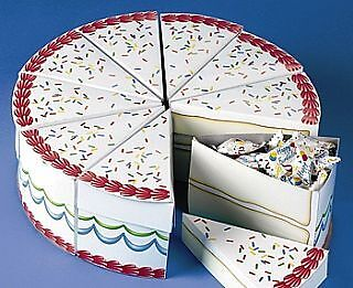 10 Birthday Cake Slice Treat Boxes - Individual Slices! | Kids Party Loot Bags