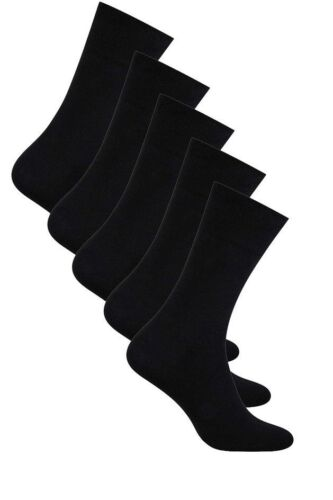 Boys Black School Cotton Plain Socks 5 Packs by Aurellie UK sizes 5.5-11