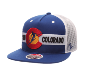 08ea084cba3 ZEPHYR (ZHATS) SKI COLORADO CO USA MESH BLUE WHITE ADJUSTABLE SNAP ...