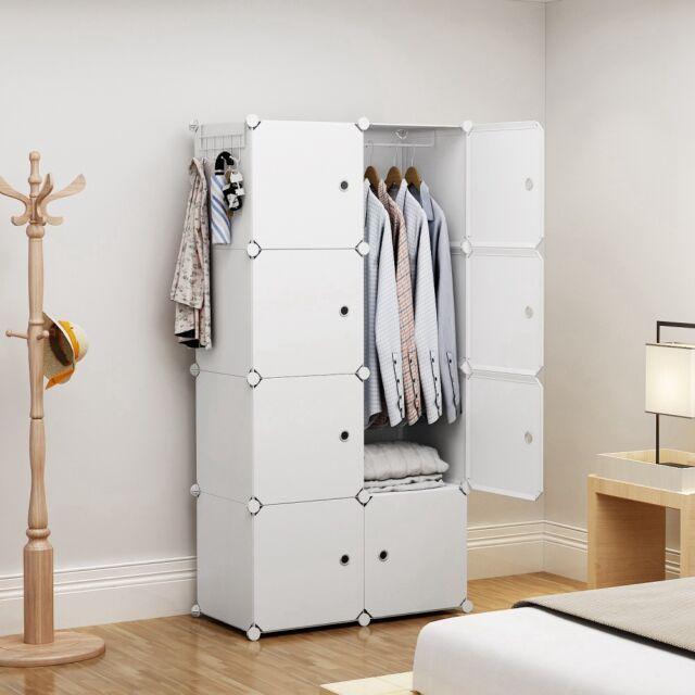 Yozo Portable Wardrobe Plastic Modular Closet Storage Organizer White 2x4tiers